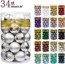 "KI Store 34ct Christmas Ball Ornaments Shatterproof Christmas Decorations Tree Balls for Holiday Wedding Party Decoration, Tree Ornaments Hooks included 2.36"" (60mm Silver)"