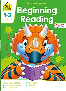 School Zone - Beginning Reading Workbook - 64 Pages, Ages 6 to 8, Grades 1 to 2, Beginning & Ending Sounds, Vowels, Sequen...