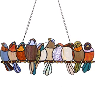 Bieye W10002 10 Tropical Birds Parrots on The Wire Tiffany Style Stained Glass Window Panel Hangings with Chain, 19