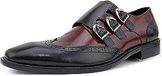 Asher Green AG118 - Dress Shoes for Men - Triple Monk Strap Men's Shoes, Two Tone Wing Tip Oxford Monk Strap AG118