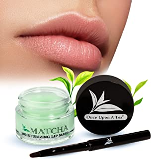 Moisturizing Green Tea Matcha Sleeping Lip Mask Balm, Younger Looking Lips Overnight, Best Solution For Chapped And Cracke...