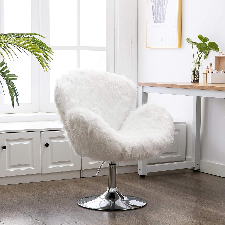 Faux Fur Swivel Jacksonville Mall Makeup Stool Miami Mall Modern White Hair Chair Long Swan