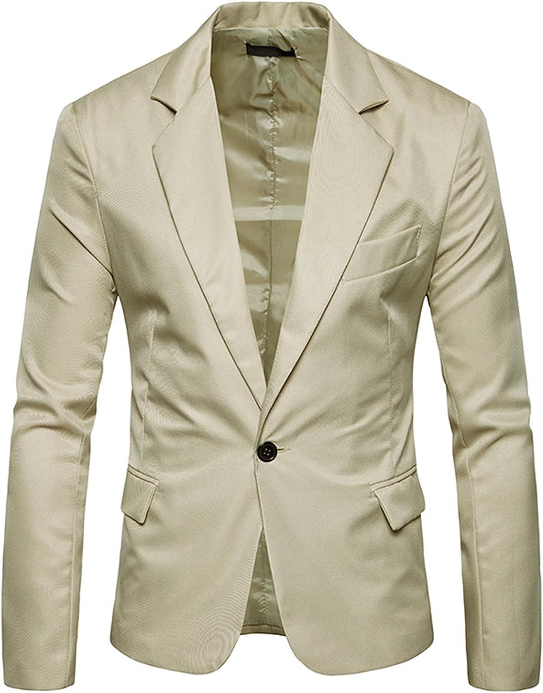FEHAAN Men's Slim Fit Suit Side-Vent One-Button Coats Jacket