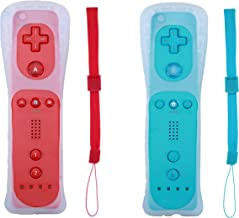 Poglen 2 Packs Wireless Gesture Controller Compatible for Nintendo wii/wii u Console - with Silicone Case and Wrist Strap for wii Controller (Red and Blue)