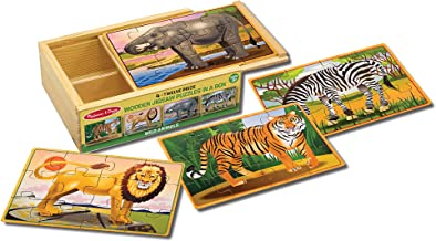 Melissa & Doug Wild Animals Jigsaw Puzzles in a Box (Four Wooden Puzzles, Beautiful Artwork, Sturdy Wooden Storage Box, 48 Pieces, Great Gift for Girls and Boys - Best for 3, 4, 5, and 6 Year Olds)