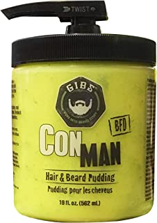 GIBS Grooming Con Man - The Original Hair & Beard Conditioner Pudding - Styling Aid, Moisturizing Curl Definer, Conditioner with Cardamom, Petitgrain, Pepper & Oakmoss Scent
