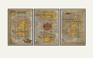 World of Warcraft art, Azeroth map triptych print set