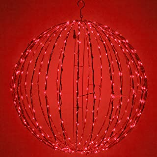 LED Light Ball – Indoor/Outdoor Christmas Light Balls, Light Spheres Outdoor/Sphere Light Fold Flat Metal Frame (16