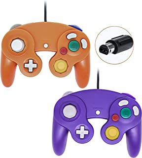 Poulep Wired Controller for Gamecube Game Cube, Classic Ngc Gamepad Joystick for Wii Nintendo Console (Orange and Purple)