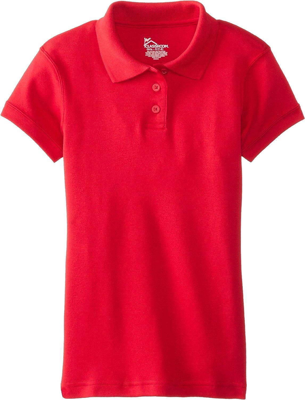 Classroom School Uniforms girls Short Sleeve Fitted Interlock Polo