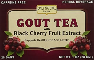 Only Natural Gout Tea Black Cherry Fruit Extract Bags, 20 Count