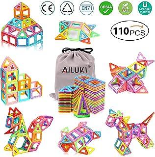 AILUKI 110 stuks magnetische bouwblokken, set magnetische bouwstenen, constructieblokken, DIY 3D educatief speelgoed, verj...