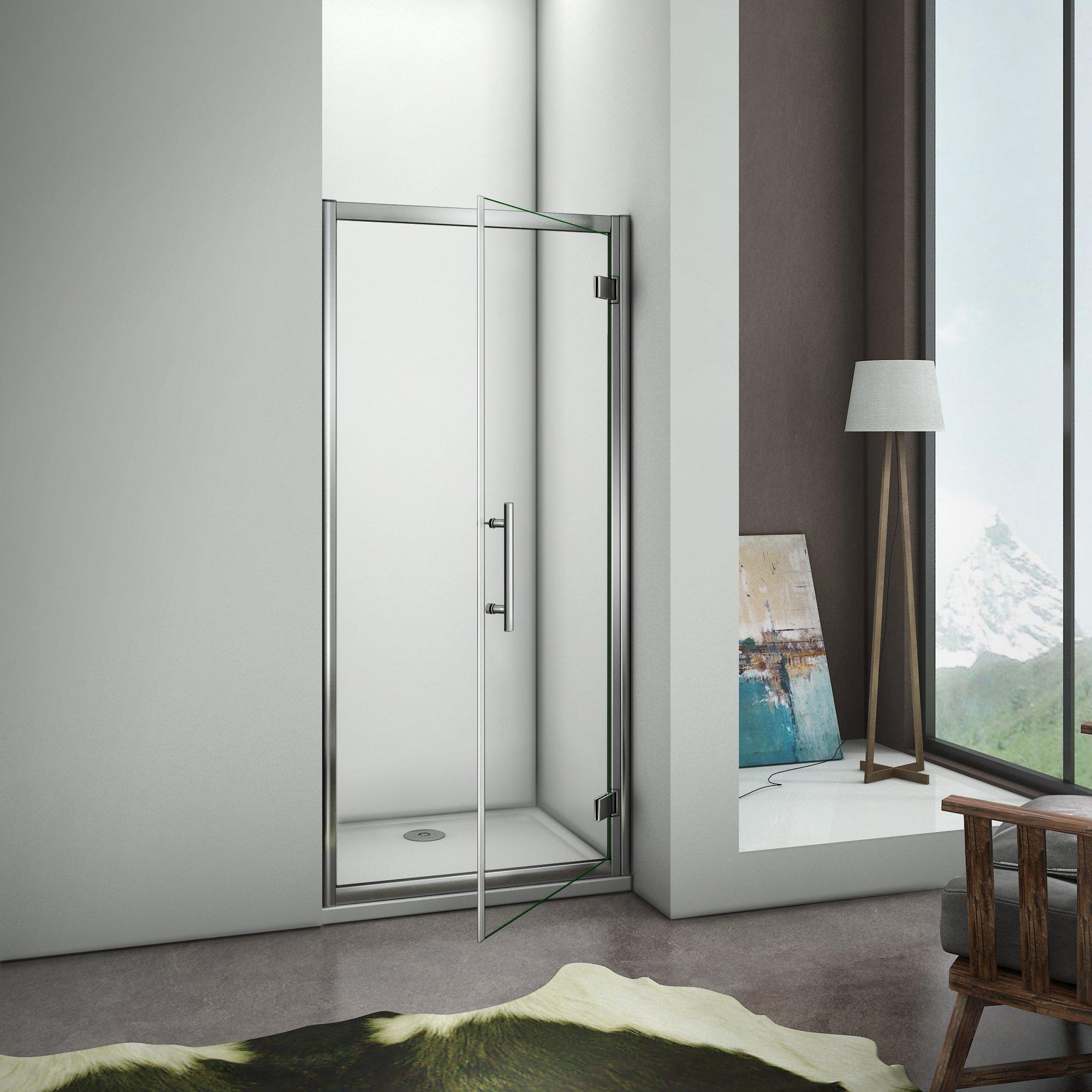 Box de ducha angular con puerta aldaba de 90 grados desmontable exterior - Cristal Templado de 6 mm, transparente: Amazon.es: Bricolaje y herramientas