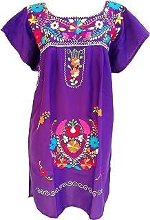 فساتين مكسيكية للنساء فستان مطرز قصير تقليدي لحفلات العيد المكسيك الأرجواني