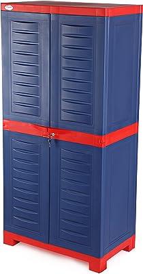 Supreme Fusion Multi Purpose Plastic Cupboard for Home (Medium Size, Coke Red & Blue)