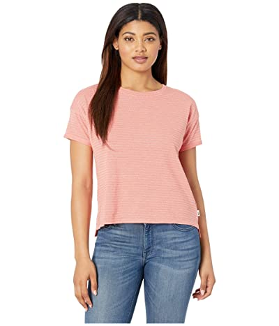 The North Face Short Sleeve Emerine Top (Spiced Coral Desert Stripe) Women