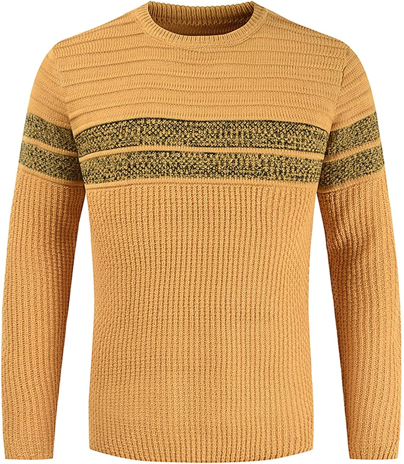 XXBR Knitted Sweater for Mens, Fall Winter Basic Crewneck Pullover Solid Warm Casual Bottoming Jumper Tops