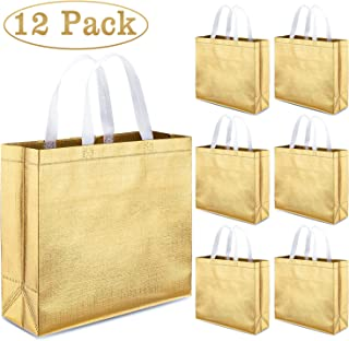Whaline Set of 12 Christmas Glossy Reusable Grocery Bag, Tote Bag with Handle, Non-Woven Stylish Present Bag, Gift Bag, Goodies Bag, Shopping Promotional Bag, for Party, Event, Birthday (Gold)