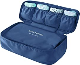 Go2buy Waterproof Portable Protect Bra Underwear Lingerie Case Travel Organizer Bag (Navy Blue)