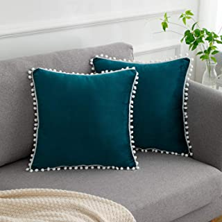1 Removable Pillow Case /& 1 Insert TEALP Owl Applique Throw Pillows Blue Owl Pom Pom Fringe Pillows for Couch Sofa Bed 18 X 18 inch