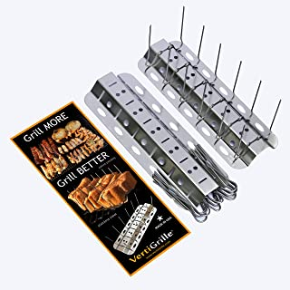 VertiGrille Vertical Skewer Rack (24 skewers/2 Pack) - Rib Rack, Chicken Wing Rack, Salmon Grill, Tandoori Grill, Jalapeno Grill & More. Stainless. Made in USA. Stores Flat in Kitchen Drawer.