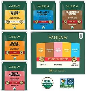 VAHDAM, Chai Tea Sampler, 5 TEAS - Tea Variety Pack | Assorted Chai Tea Bags | Cardamom Tea Bags, Cinnamon Tea Bags, Turme...
