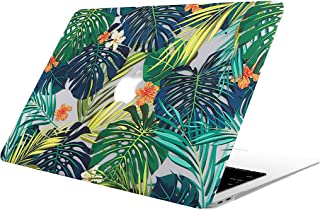 AOGGY MacBook Air 13 Case Model: A1369/A1466 (2017-2010 Version) - Matte Print Tropical Palm Leaves Pattern Coated PC Hard Protective Case Cover for MacBook Air 13'' - Palm Leaves & Green Flower