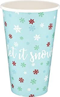 Greenhouse Compostables Let It Snow Paper Cups - 50 ct, 16oz 100% Compostable  Multicolor Snowflakes, Disposable Christmas Holiday Party Drinkware
