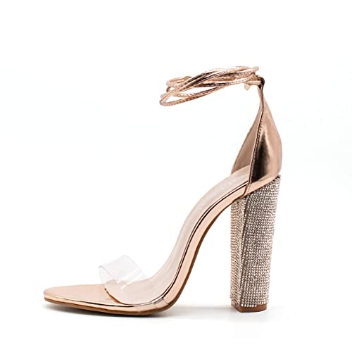 b3e60e50bf5782 LALA IKAI Women s Gold High Heels Sandals with Rhinestone Ankle Strappy  Clear Chunky Heels Dress Party