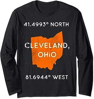 Cleveland Ohio Pride - Latitude and Longitude Coordinates Long Sleeve T-Shirt
