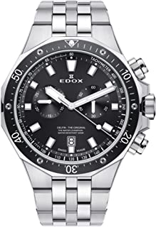 Edox Men's Delfin Quartz Watch with Stainless-Steel Strap, Silver, 24 (Model: 10109 3M NIN)