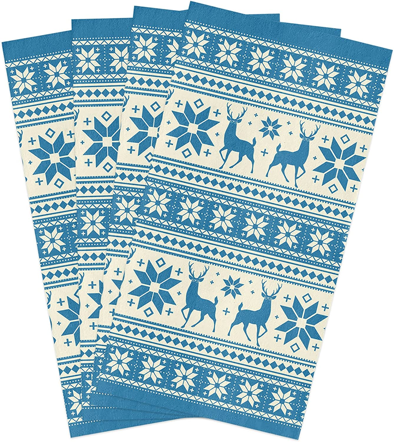 Microfiber Soft Kitchen Max 74% OFF Dish Towels Pack 4 Miami Mall Merry Re Christmas of