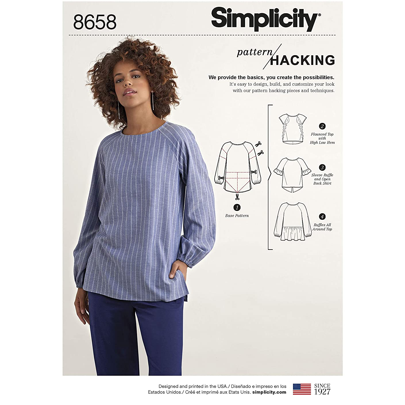 Simplicity Sewing Pattern D0945 / 8658 - Misses' Top with Options for Design Hacking, A (XXS-XS-S-M-L-XL-XXL)