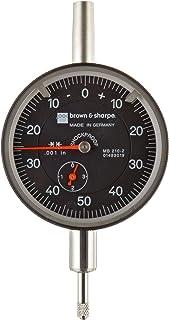 "Brown & Sharpe 14.82022 Dial Indicator, 4.0-48 Thread, 0.374"" Stem Dia., Central Lug Back, White Dial, 0-100 Reading, 2.25"" Dial Dia., 0-1"" Range, 0.001"" Graduation, +/-0.001"" Accuracy"