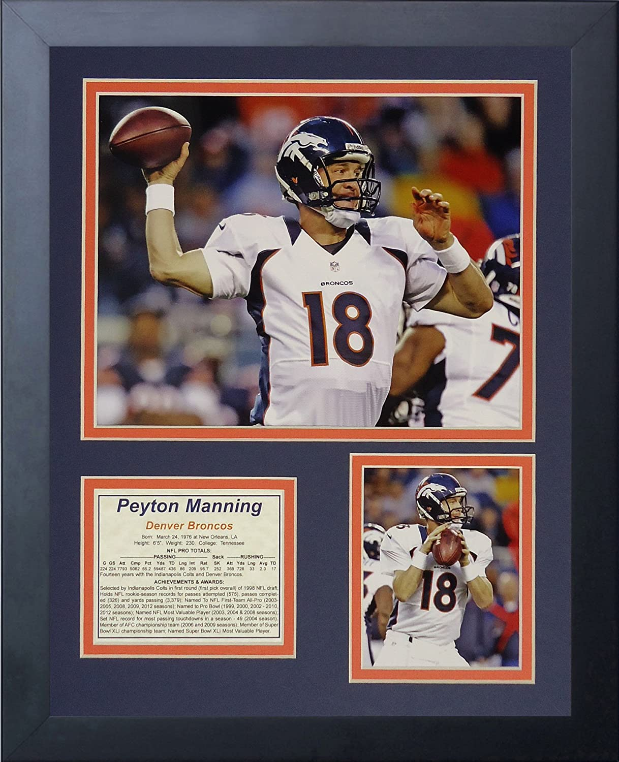 Legends Never Die Peyton Manning Broncos White Framed Photo Collage, 11 x 14Inch