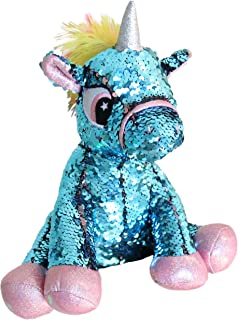 Athoinsu Flip Sequin Stuffed Animal Unicorn Plush Toy with Reversible Glitter Sequins Sparkle Gifts for Kids Friends, Blue, 11