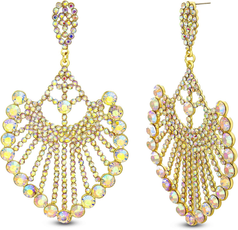Steve Madden Yellow Gold Plated Iridescent Rhinestone Drop Fan Shaped Dangle Earrings for Women