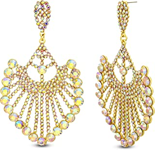 Steve Madden Yellow Gold Plated Iridescent Rhinstone Drop Fan Shaped Dangle Earrings for Women