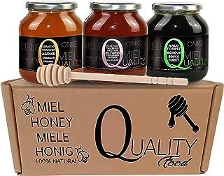 Reiner bienenhonig 100%. Roher Honig ohne pasteurisierung oder erhitzung. Geschenk und Verkostungspackung 3x500g. Glasgefäß. Herkunft Spanien. Geschenk: Holzspender.