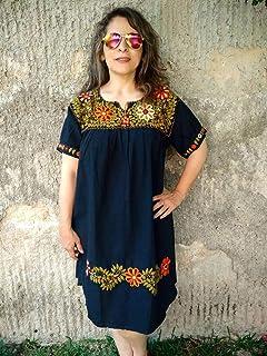 Vestido Casual Mexicano Negro Bordado Floral para Dama