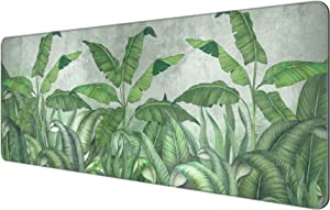 Dynippy Thin Extended Gaming Mouse Pad with Stitched Edges Large Mousepad Long XXL Keyboard and Mouse pad Desk Mat for Gaming Office & Home - Tropical Leaves