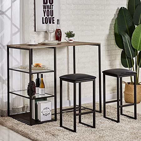 VECELO 3-Piece Dining Set Counter Height Kitchen Table with 2 PU Padded Chairs, Space Saving, Storage Shelves, Black