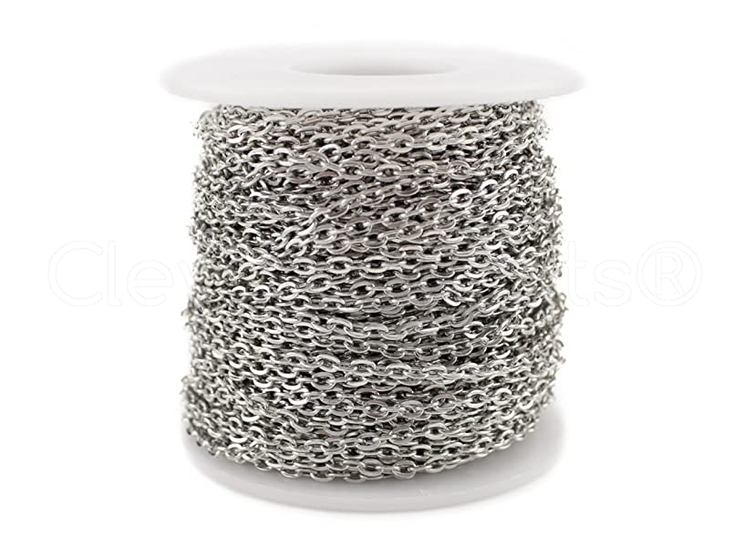 CleverDelights Rolo Chain Roll - 30 Feet - Antique Silver (Platinum) Color - 3x4mm Link - Bulk Spool
