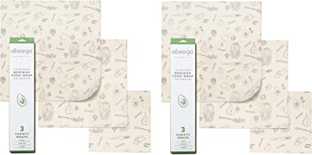 Abeego, The Original Beeswax Food Storage Wrap - Set of 6 Natural Square Sheets (2 Small, 2 Medium, 2 Large)