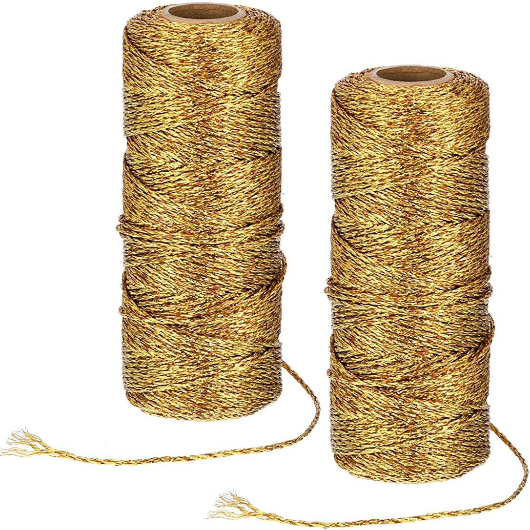 Pangda 220 Yard Metallic Baker Twine Craft Gold Twine Present Wrapping Cord for Christmas DIY Crafting iwjnfgjsdalvfbp3
