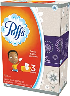 Puffs Basic Facial Tissues, 2 Ply - Assorted - Durable - for Face - 180 Quantity Per Box - 3 Boxes Per Pack