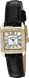 ساعة بيجو للنساء 14 قيراط ذهب مطلي مربع تانك صغير أسود حزام جلدي فاخر 3052BK