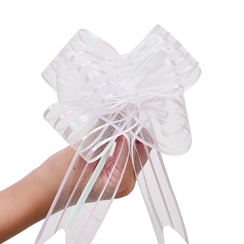 LazyMe Pull Bow, Large, Organza, 6 Inches, for Birthday, Baby Shower, Wedding, Christmas, Holiday Decoration, Party Gift Wrap (White, 10 Pcs)