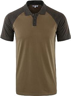 Mens Casual Retro Short Sleeve Active Raglan Jersey Polo Henley T Shirt