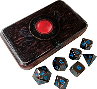 Warlock Tome ICY Doom (Black and Blue) Solid Metal Polyhedral Role Playing Game RPG Dice Set of 7 Dice with Dice Storage Case Dice Box by SkullSplitter Dice